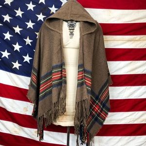 Sweaters - Brown and plaid hooded fringe poncho wrap